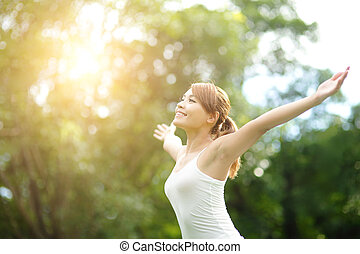 Carefree and free woman - Carefree and free cheering woman...