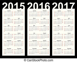 Simple Calendar year 2015, 2016, 2017, vector