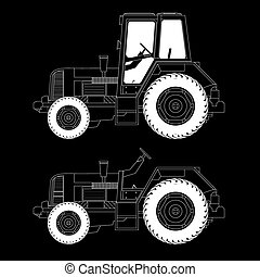 Agricultural machinery- tractors, vector