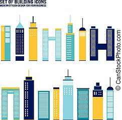 Skyscraper building icon set City infographic elements...