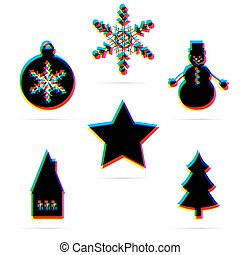 Set of six winter holiday flat icon with shadow. CMYK offset...