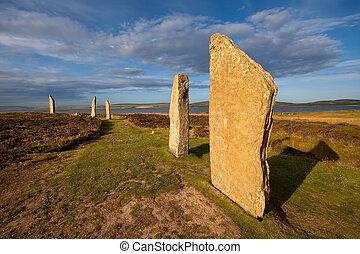 anillo, de, Brodgar, Orkney, Escocia,