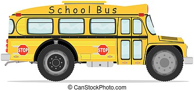 Funny school bus. Vector illustration without gradients.
