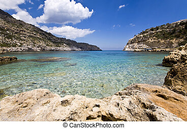 Antoni Queen (or Ladiko) beach at Rodos island, Greece
