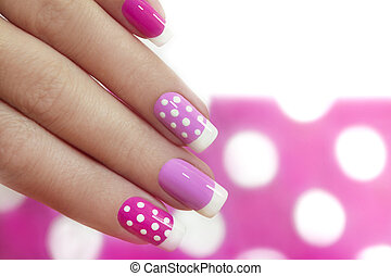 Nail design with white dots - Nail design with white dots on...