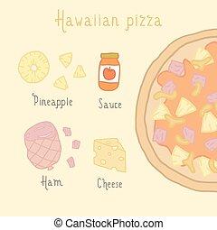 Hawaiian pizza ingredients.