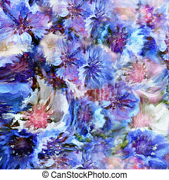 Abstract floral hazy background with stylised blue and white...