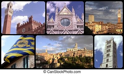 siena collage - Wonderful tuscany montage. Cityscapes and...