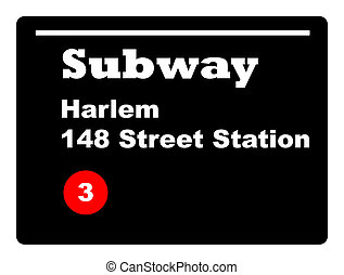 Harlem subway sign New York city, U.S.A.