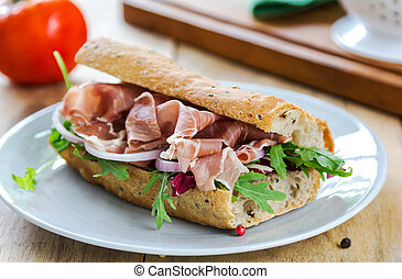Prosciutto with rocket and radicchio sandwich - Prosciutto...