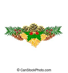 Christmas decoration with pinecones green and gold leaves...