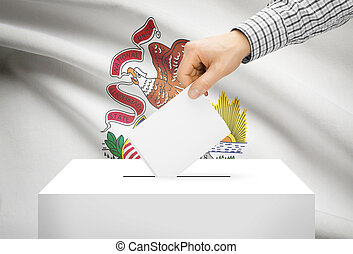 Voting concept - Ballot box with national flag on background - Illinois