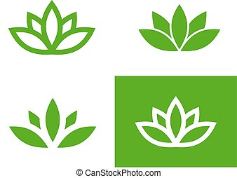 Green lotus set - Four green lotus silhouettes set, vector...