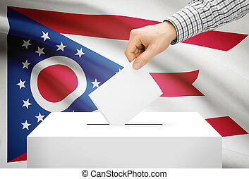 Voting concept - Ballot box with national flag on background - Ohio
