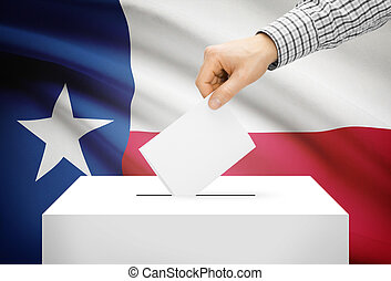 Voting concept - Ballot box with national flag on background - Texas