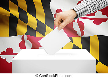 Voting concept - Ballot box with national flag on background - Maryland