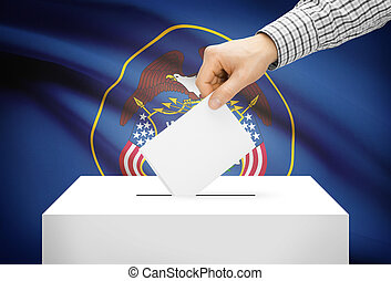 Voting concept - Ballot box with national flag on background - Utah