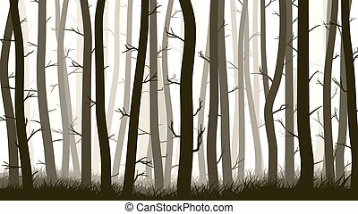Illustration with many pine trees. - Vector horizontal...