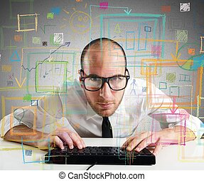 Businessman work - Businessman checking statistics and...