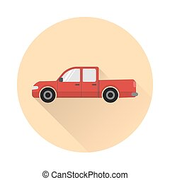 Pickup truck icon - Pickup truck car icon with round frame...