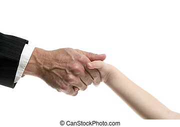 Businessman father giving hand to a child isolatede on white