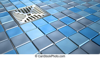 Shower Floor Drain And Mosaics - A shower floor decorated...