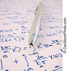 Math homework - Pen and a mathematical exercise calculations...