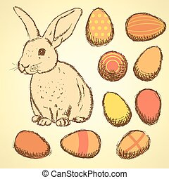 Sketch Easter eggs and bunnyset in vintage style, vector