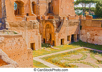 Palatine Hill, Rome, Italy - Domus Augustana and courtyard...