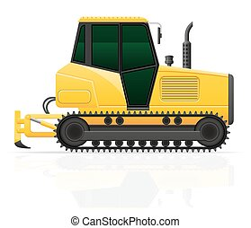 caterpillar tractor with plow vector illustration isolated...