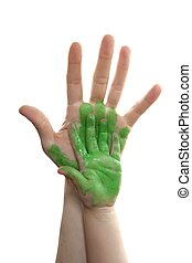 Green paint mother, son, daughter hand - Green paint mother,...