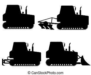 set icons caterpillar tractors black silhouette vector...