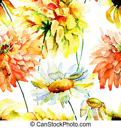 Beautiful chrysanthemum and chamomile flowers - Watercolor...