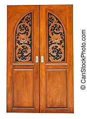 Brown door - The brown door on white background