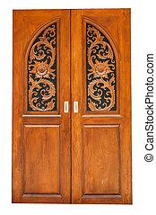 Brown door - The brown door on white background