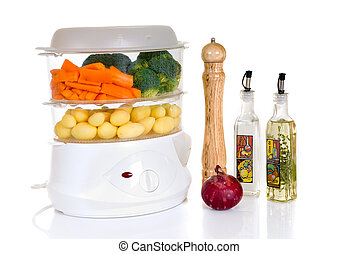 Steam cooker - Healthy cooking, steam cooker with vegetables...