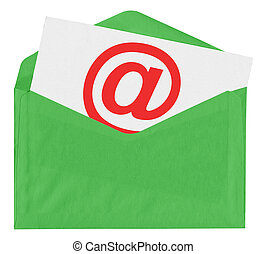 Envelope with at symbol isolated on white background