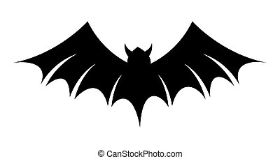 Scary Bat Silhouette Vector - Halloween Scary Vampire Bat...