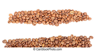 Arranged coffee beans isolated on white background
