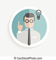 Vector round paper icon researcher successful man with...