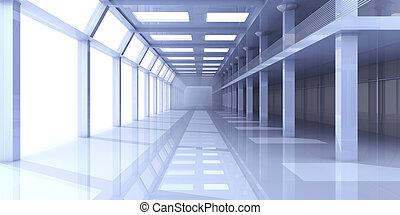 Hallway Architecture - 3D rendered Illustration.