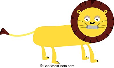 Lion vector cartoon - Childs vector drawing of a yellow lion...
