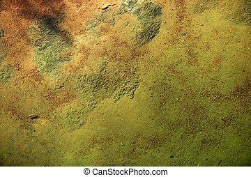 Bottom of a river texture, orange and green background