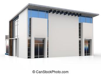 3d modern duplex house on white background