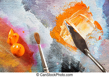 Aristic paint and putty knife - Professional acrylics paints...