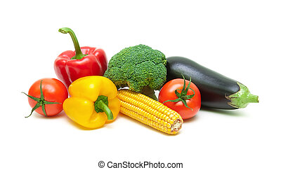 ripe fresh vegetables isolated on white background close-up