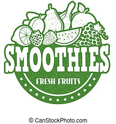 Smoothies stamp - Smoothies grunge rubber stamp on white...