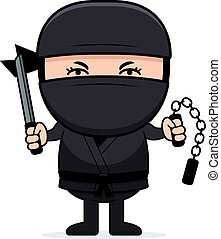 Cartoon Little Ninja Weapons - A cartoon illustration of a...