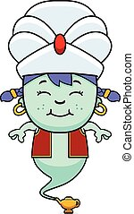Smiling Cartoon Little Genie - A cartoon illustration of a...