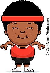 Smiling Cartoon Fitness - A cartoon illustration of an...
